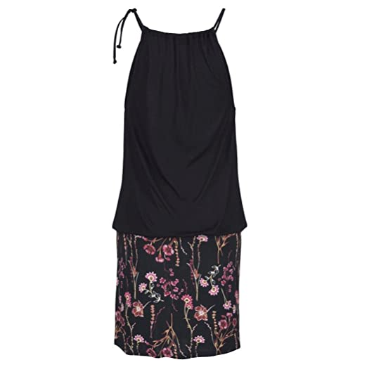 Ba Zha Hei Vestido de Falda con Estampado Halter de Mujer Mujer Vestidos | Mujer Vestir Ropa | Mujer Sexy Falda Chaleco Camisetas | Blusa De Fiesta Mujer ...