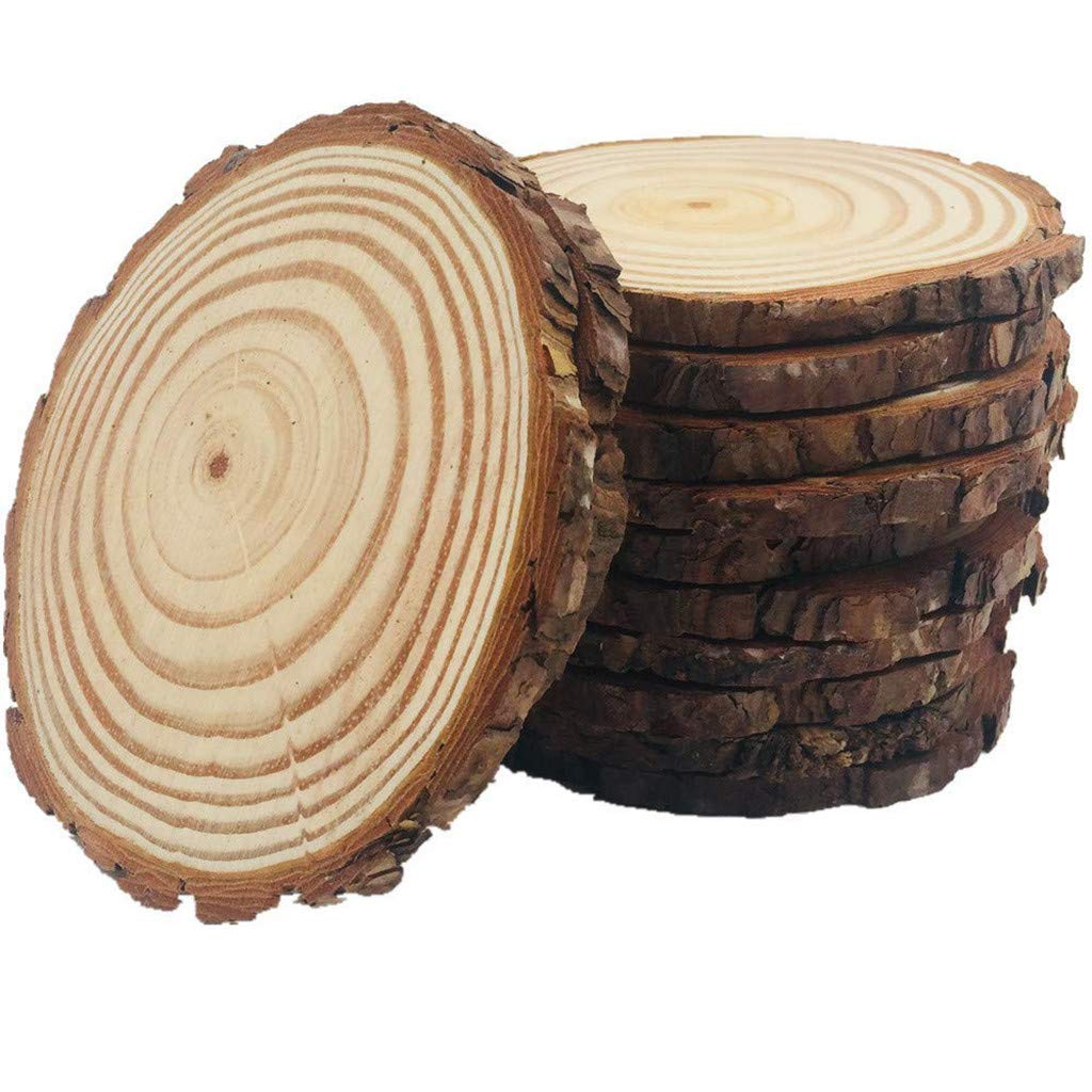 Iuhan 10Pcs Natural Wood Slices 4-4.7inch Unfinished Natural with Tree Bark Diameter Large Circle Rustic Wedding Centerpiece Disc Coasters Christmas Ornaments DIY Woodland Projects Table Chargers