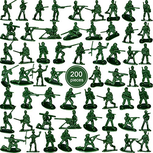 200 Pieces Green Army Toy Soldiers Men Action Figures Soldiers in Various Poses for Boys -