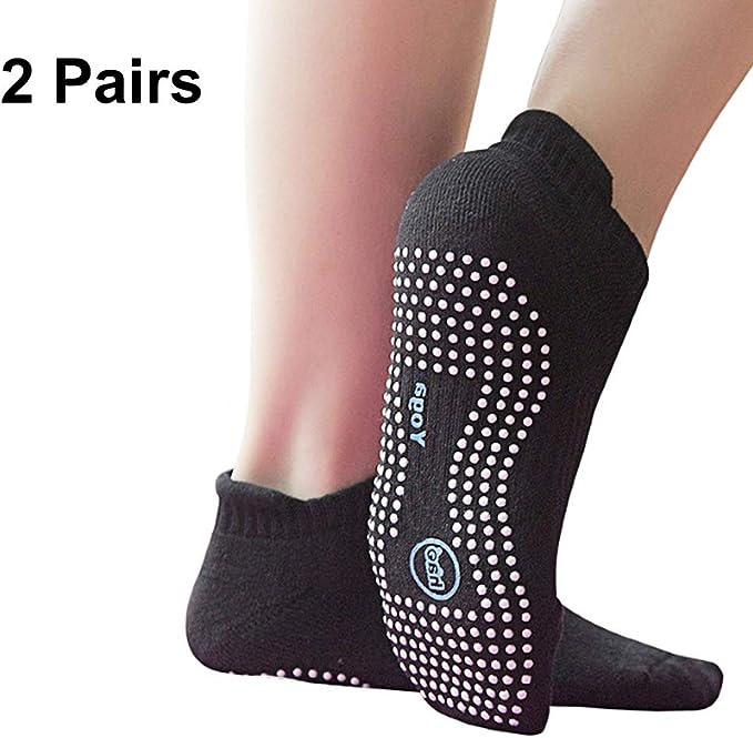Ytaons Non-Slip Yoga Socks for Women Workout Grips /& Straps Yoga Socks 2 Pairs Home Gym