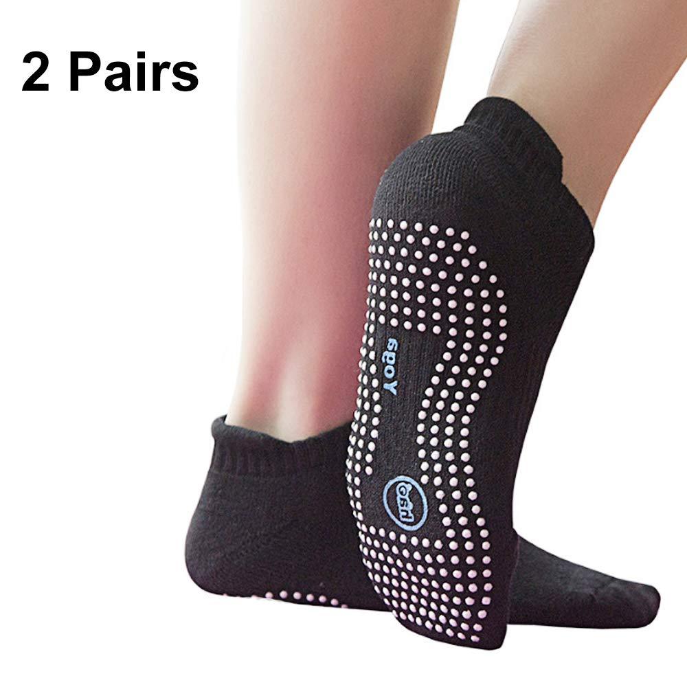 Non Slip Skid Socks with Grips for Yoga,Barre Pilates,PiYo,Men and Women, 2 Pairs Black