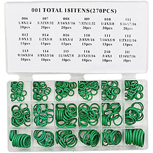 Rubber O rings KangTeer 270pcs O-Ring Store Insulation Washer Seals Watertightness Assortment Different Size (Teflon Metric Bearings)