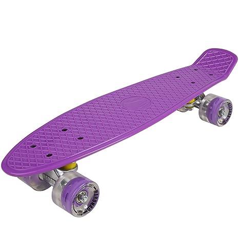 Penny ABEC - 7 - Monopatín skate board con ruedas LED iluminación (purple)