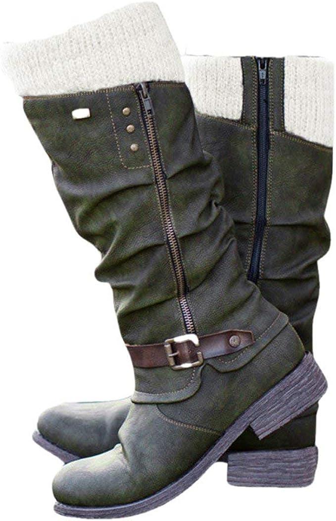 Knee High Boots Women Flats Faux Suede Casual Knight Boots Zipper Winter New