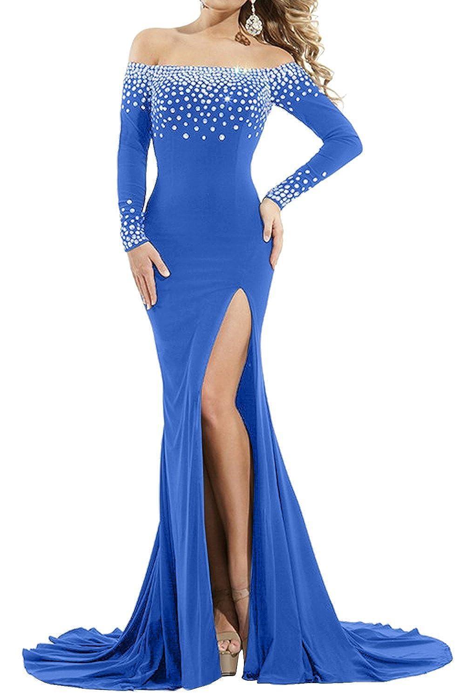 bluee Sweet Bridal Women's Long Sleeve Off Shoulder Split Rhinestone Evening Dress