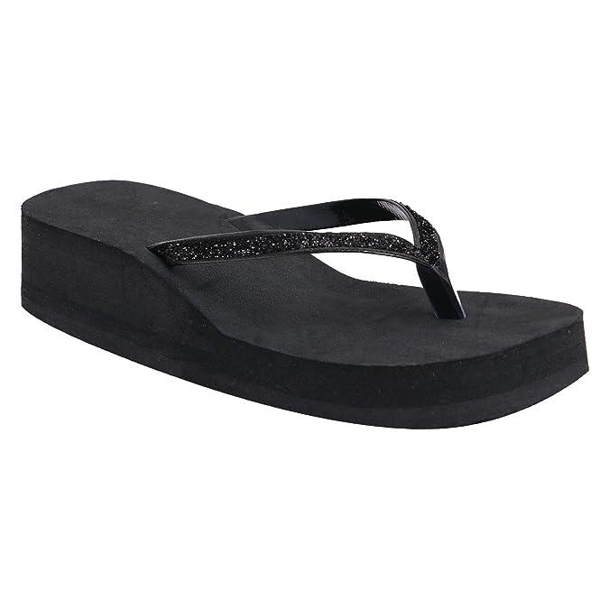 HHD Women's Casual Rubber Black Flip-Flop Slippers (Black) Women's Flip-Flops & Slippers at amazon