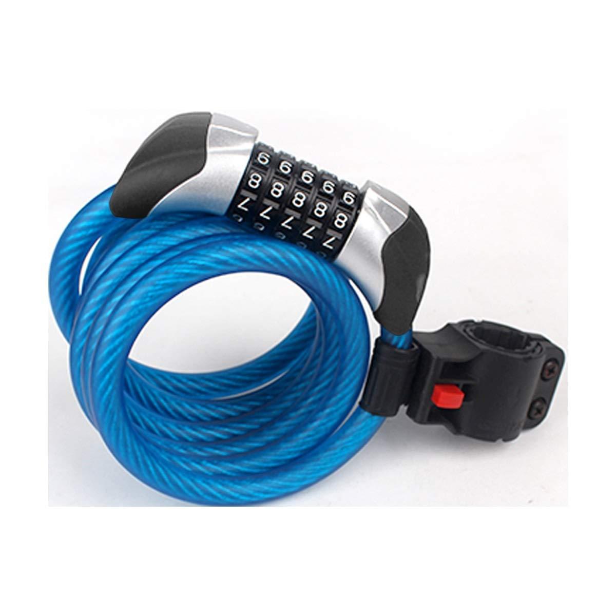 ZHONGYUE 1.8m Mountain Bike Lock, Bicycle Lock, Code Lock, Road Car Anti-Theft Equipment, Steel Cable Lock, Black, Purple, Blue (Color : Blue)
