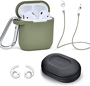 Case for Airpods Accessories Set, Filoto Airpod Silicone Case Cover with Keychain/Strap/Earhooks/Accessories Storage Travel Box for Apple Airpods 2&1, Best Gift for Your Air Pod (Olive Green)