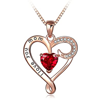 8ceb824dc Amazon.com: Mother's Birthday Gift I Love You Mom Rose Gold Plated Sterling  Silver Heart Pendant Necklace for Women: Jewelry