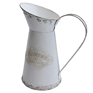 """MISIXILE French Style Country Vintage White Small Vase, Metal Rustic Primitive Jug Vase Pitcher for Home Wedding Cafe Decor -8.7"""""""