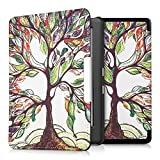 kwmobile Elegant synthetic leather case for the Kobo Glo HD (N437) / Touch 2.0 Design colorful tree in multicolor green white