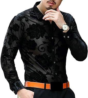 WSPLYSPJY Mens Fashion Printed Long Sleeve Slim Button-Down Casual Shirts