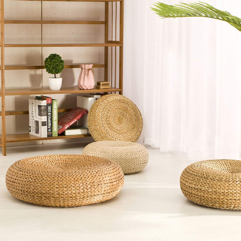 Floor Pillow Eco-Friendly Round Straw Cushion,Thicken Straw Chair Pad Mat Hand Woven Tatami Floor Cushion by VnHome