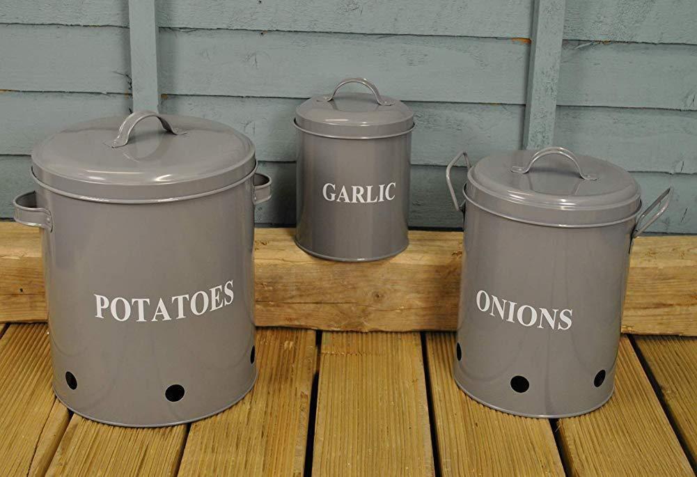iuNWjvDU Conjunto Conveniente de 3 latas de Metal de Almacenamiento de la Papa la Cebolla y el ajo en Gris Francesa para el hogar
