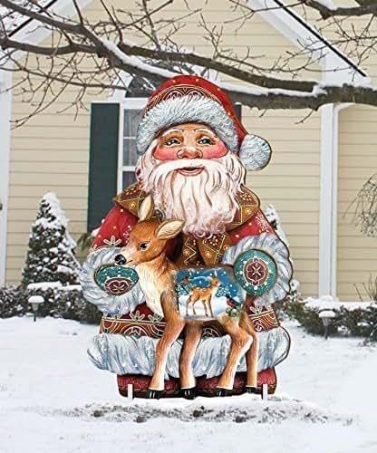 Amazon.com: Christmas Outdoor Decoration Winter Fawn Santa