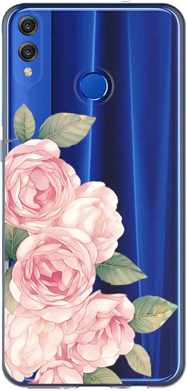 Oihxse Case Transparente Suave TPU Compatible con Huawei Y6 Prime 2018/Y6 2018 Funda [Lindo Caricatura Flor Serie Dibujos] Cristal Protector Carcasa Anti Rasguños Bumper Cover-Rosa Rosa