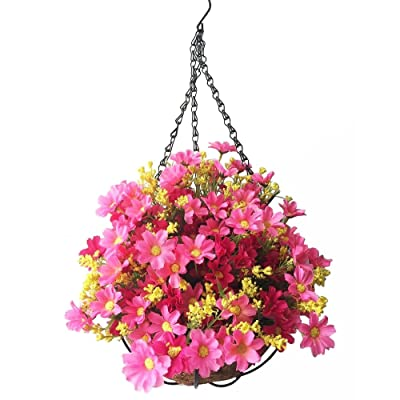Lopkey Artificial Daisy Flowers Outdoor Indoor Patio Lawn Garden Hanging Basket with Chain Flowerpot,Red 10 Inch: Kitchen & Dining