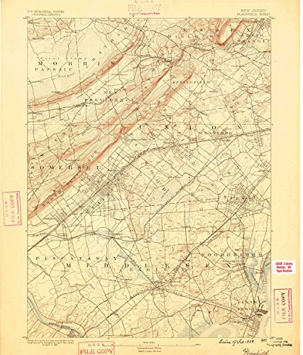 Plainfield NJ topo map, 1:62500 scale, 15 X 15 Minute, Historical, 1888, updated 1888, 19.5 x 16.6 IN - - Nj Park Edison