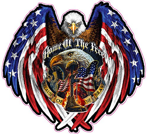 Nostalgia Decals American Bald Eagle Home of the Free Because of the Brave Reflective Decal 6