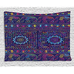 Ambesonne Psychedelic Tapestry, Traditional Middle Eastern and Moroccan Persian Baby Elephants Artwork Print, Wall Hanging for Bedroom Living Room Dorm, 60 W X 40 L Inches, Multi