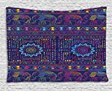 Psychedelic Tapestry by Ambesonne, Traditional Middle Eastern and Moroccan Persian Baby Elephants Artwork Print, Wall Hanging for Bedroom Living Room Dorm, 60 W X 40 L Inches, Multi