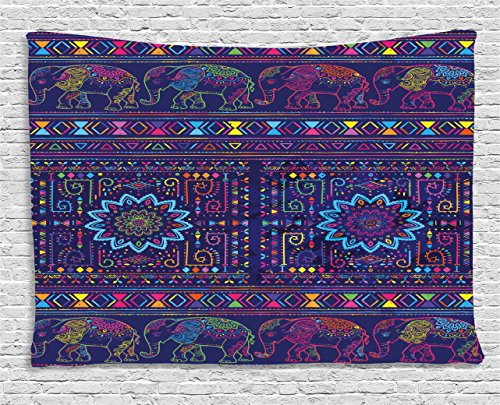 - Ambesonne Psychedelic Tapestry, Traditional Middle Eastern and Moroccan Persian Baby Elephants Artwork Print, Wall Hanging for Bedroom Living Room Dorm, 60 W X 40 L Inches, Indigo Pink
