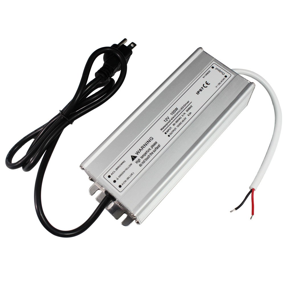 Lightingwill Waterproof Ip67 Led Power Supply Driver Transformer 12v Circuit 100w 110v Ac To Dc Low Voltage Output With 3 Prong Plug 33 Feet Cable For Outdoor Use