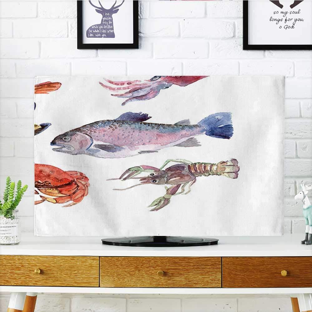 あなたのTVの遊び心のあるイルカのフィギュアを、色付きの正方形のモザイクで守りましょう。水中での生活をテーマに。テレビを保護。幅19 x 高さ30インチ/テレビ32インチ。 W36 x H60 INCH/TV 65