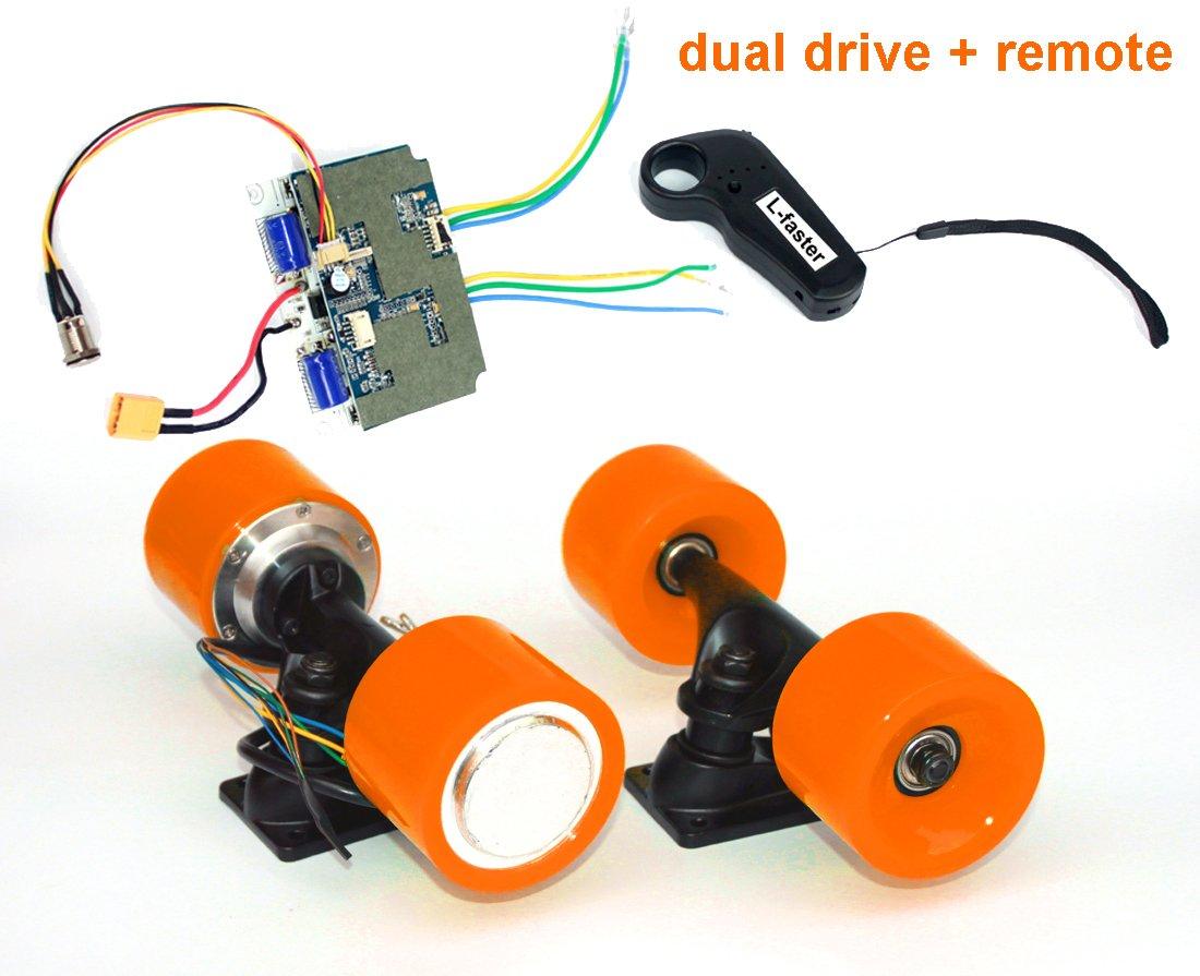 電動スケートボードブラシレスハブモーターキットdiy子e-ボード電動4輪スケートボードデュアルドライブ変換キットでリモート B07F29TH5N Orange kit Orange kit