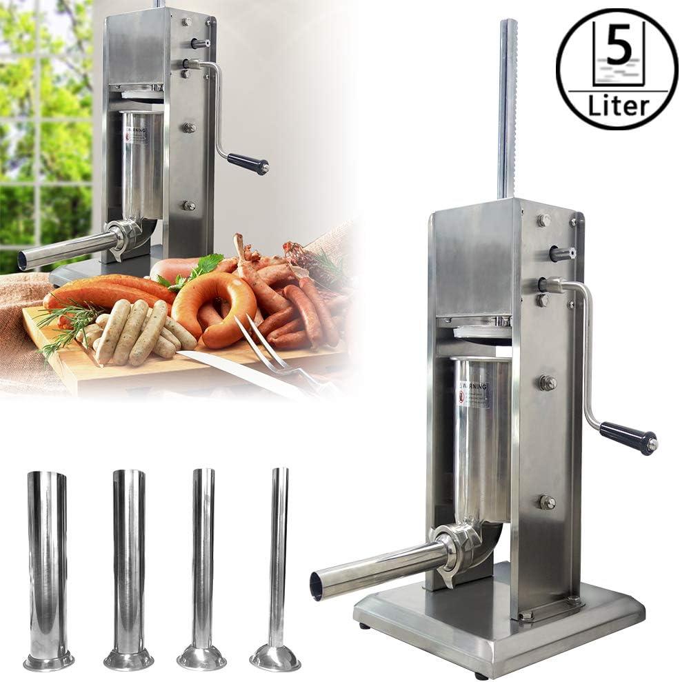 5 Litre LARS360 Machine /à Saucisses Poussoir /à Saucisses Remplissage de Saucisse en Alliage dAluminium avec 4x Tubes en Acier Inoxydable /Ø 6//22//32//38 mm