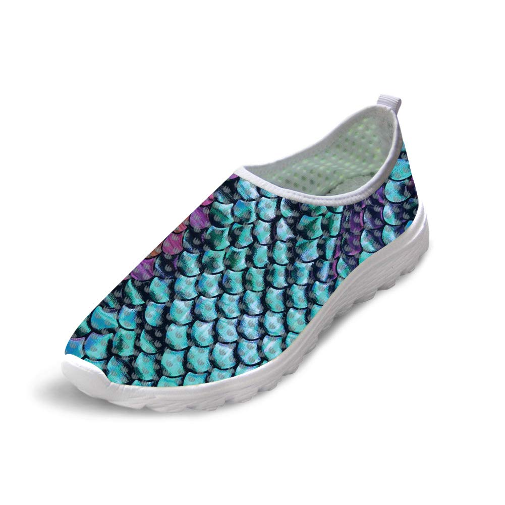 Owaheson Trail Runner Running Shoe Casual Sneakers Paint Purple Green Fish Scales