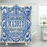 TOMPOP Shower Curtain Spanish Ornate Work Madrid Symbol Ceramic Tilework Azulejos Spain Closeup Tin Glazed Vintage Indigo Blue Waterproof Polyester Fabric 72 x 72 inches Set with Hooks