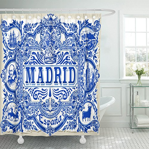 TOMPOP Shower Curtain Spanish Ornate Work Madrid Symbol Ceramic Tilework Azulejos Spain Closeup Tin Glazed Vintage Indigo Blue Waterproof Polyester Fabric 72 x 72 inches Set with Hooks by TOMPOP