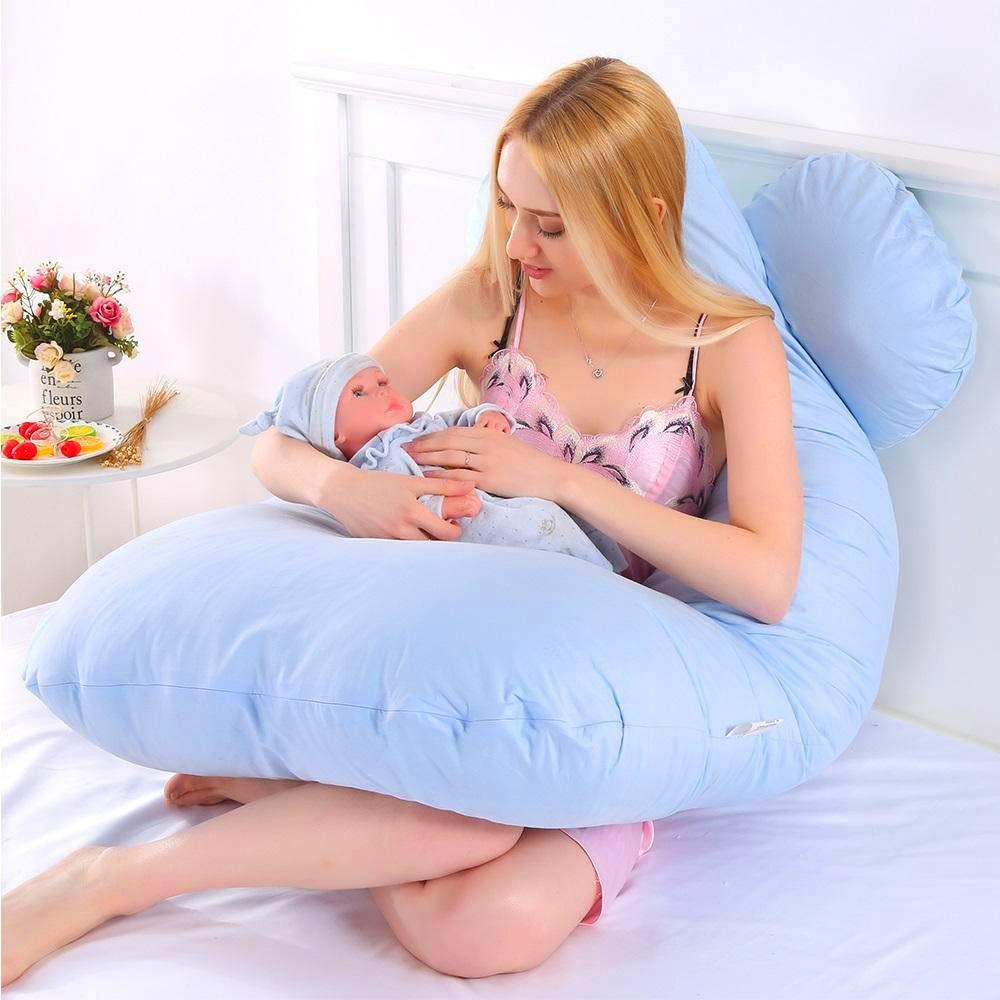 Ertex XXL U-f/örmiges Schwangerschaftskissen Stillkissen Babystillkissen Seitenschl/äferkissen Lagerungskissen mit Abnehmbarem und Waschbarem Doppelseitig Rosa Creme Bezug Baumwolle 100/%