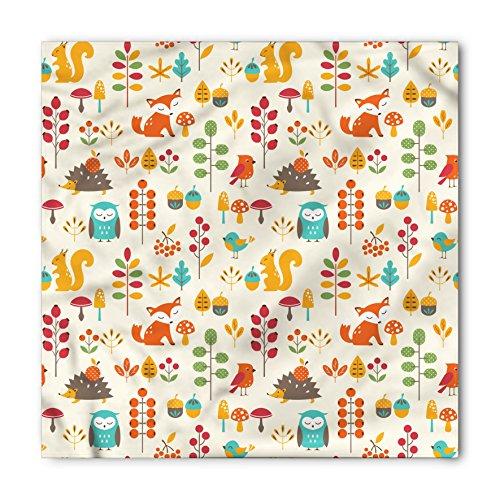 - Ambesonne Unisex Bandana, Children Owl Fox Squirrel Birds, Cream Orange