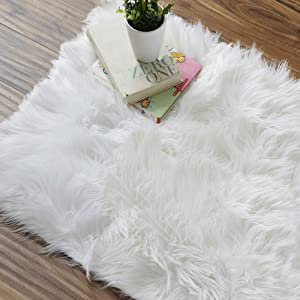 OJIA Deluxe Soft Fuzzy Fur Rugs Faux Sheepskin Shaggy Area Rugs Fluffy Modern Kids Carpet for Living Room Bedroom Sofa Bedside Decor (2 x 3ft, Ivory White)