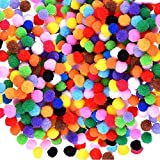 """1000pcs Mini Assorted Pom Poms, Multicolor Soft Fuzzy Pompom Balls for DIY Creative Crafts Making and Arts Decorations, Hobby Embellishments Supplies, 0.4"""""""