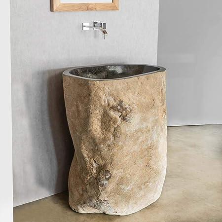 wanda collection Vasque de Salle de Bain sur Pied en Pierre de rivière
