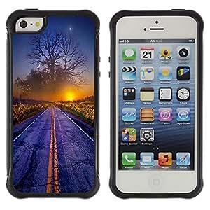 Be-Star único patrón Impacto Shock - Absorción y Anti-Arañazos Funda Carcasa Case Bumper Para Apple iPhone 5 / iPhone 5S ( Magical World Sunset Tree Art Road Mist Dawn )