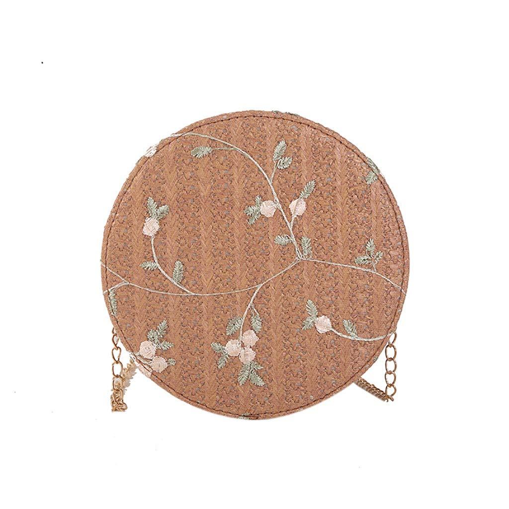 Bambus  ラウンドストローチェーン クロスボディバッグ レディース 花柄刺繍 ショルダーバッグ 財布 スタイリッシュなジッパーサッチェルバッグ サマービーチ用 B07RJY88GC ブラウン