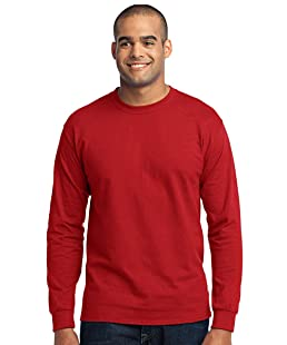 Port & Company PC55LS Long Sleeve T-Shirt - Red - L