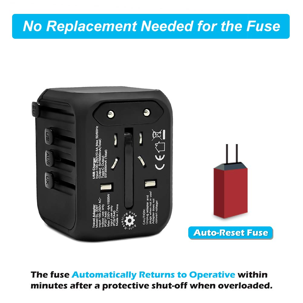 Universal International Travel Adapter with Auto-Reset Fuse, Whew All-in-One Worldwide Power Adapter Travel Plug Adapter, 5A USB Output, 1 Type C, 3 USB for US, UK, EU, AU, 170+ Countries (Black) by Whew (Image #2)