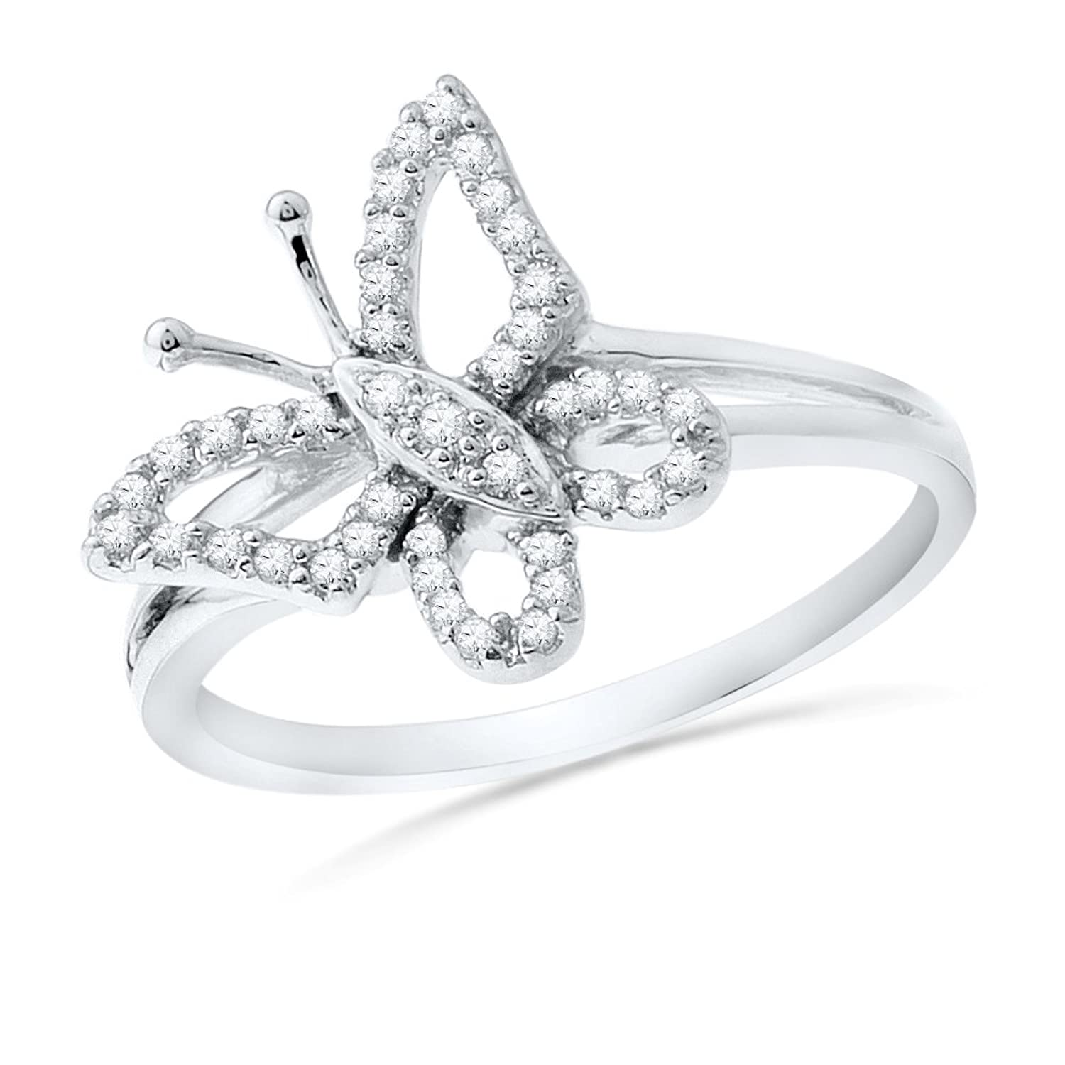 Sterling Silver Round Diamond Butterfly Fashion Ring (1/5 cttw)