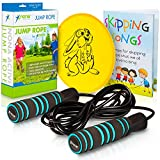 Toys : Adjustable Jump Rope with Non-Slip Handles - for Kids and Adults - Plus Skipping Song Book, Flying Disc - 100% Refund Guarantee