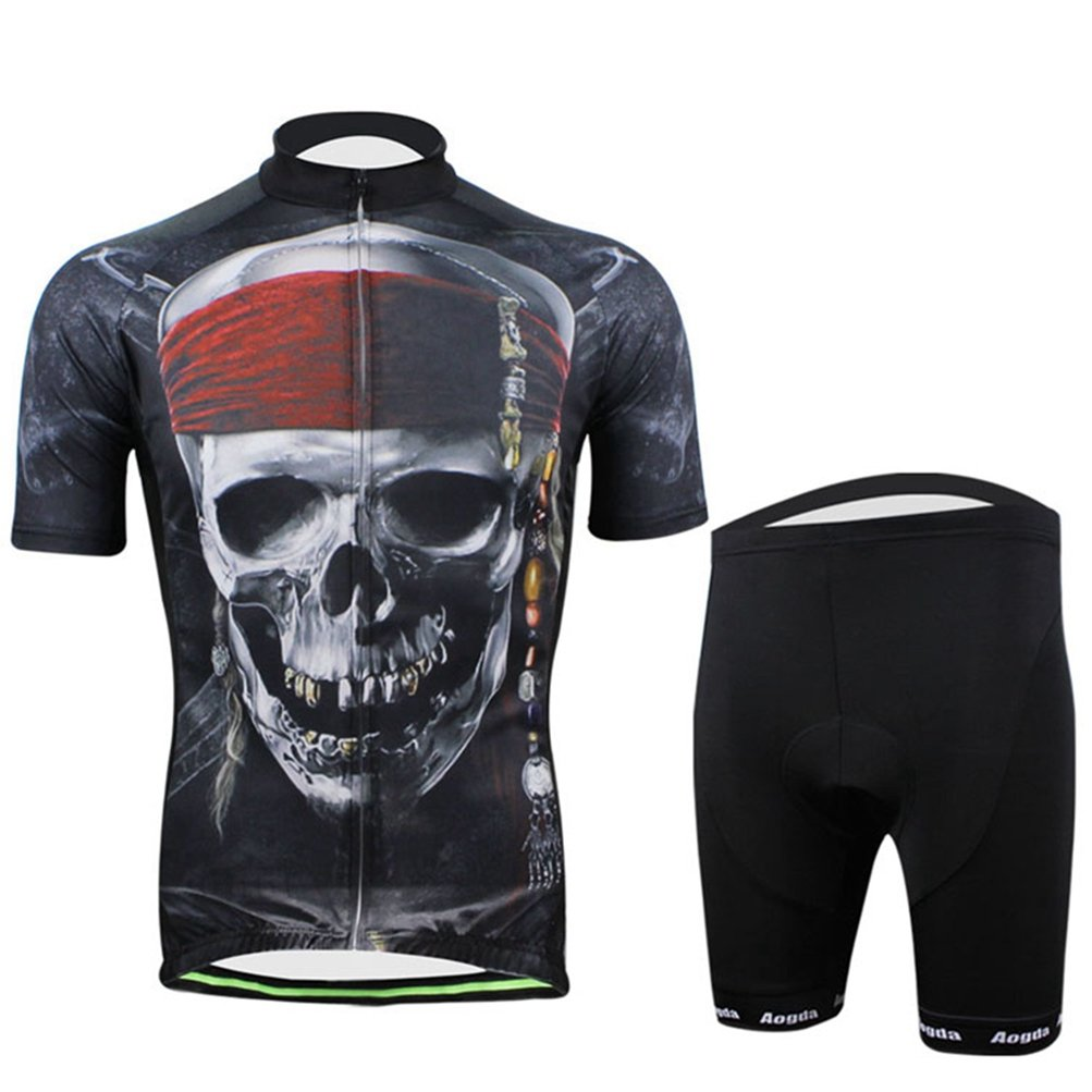 Uriahメンズ3d Cycling Jersey Shortsセット半袖 B06VTPMMPT  Skull Pirate X-Large