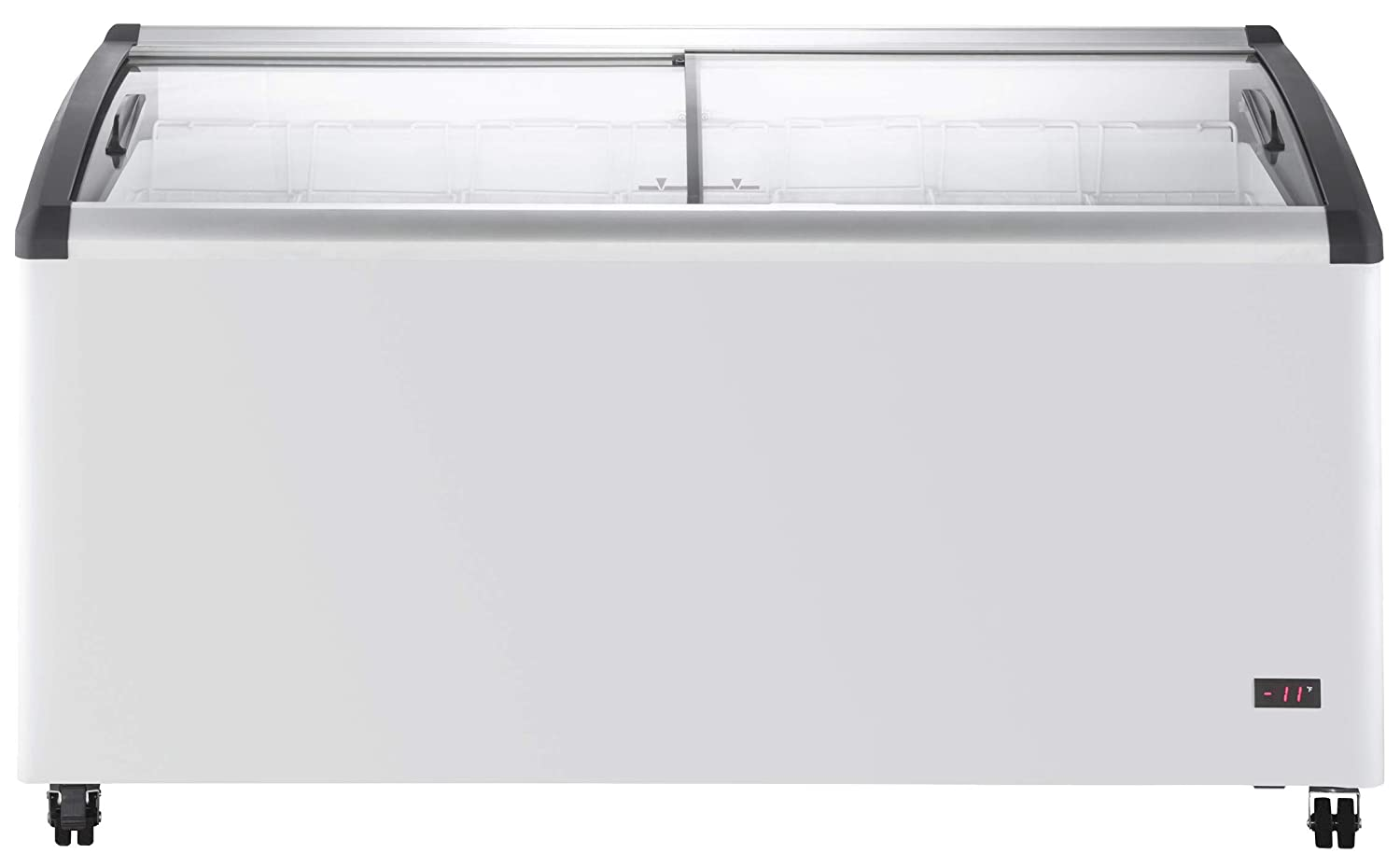 Chef's Exclusive Commercial Mobile Ice Cream Display Chest Freezer Curved Sliding Glass Lids Frost Free Sub Zero with 7 Wire Baskets, 63.4 Inch Wide, White 61DCircDv2BL._SL1500_