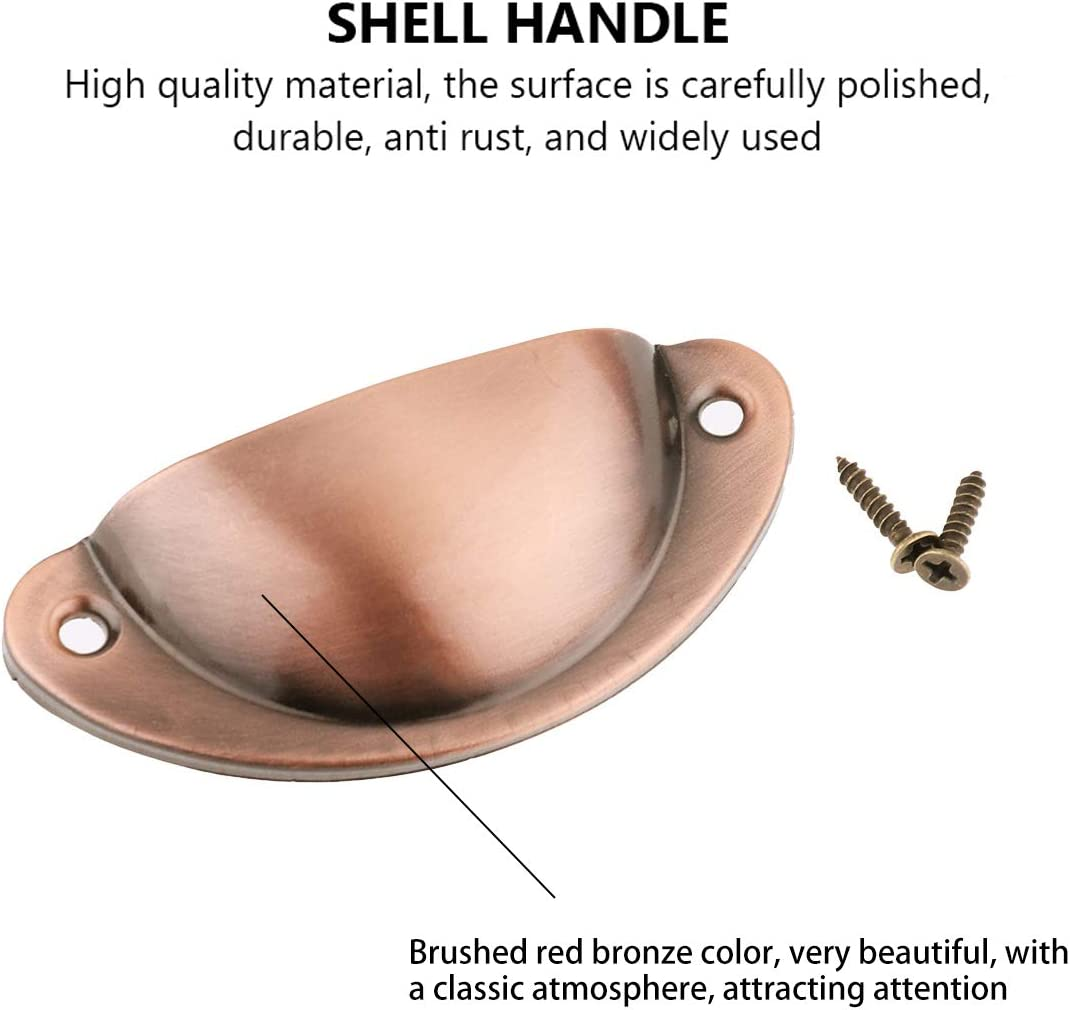 Cup,Drawer,Furniture. Drawer Cabinet Iron Shell Cup Semicircle Handle,Shell Cup Handles,Retro Drawer Pull Handles,Cupboard Antique Shell Pull Handles,for Kitchen Cupboard,Door Cabinet