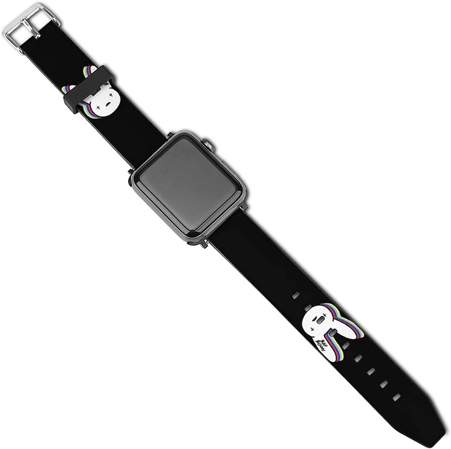 Bad Bun-ny Shadow Patterned Leather Wristband Strap for Apple Watch Series 5/4/3/2/1
