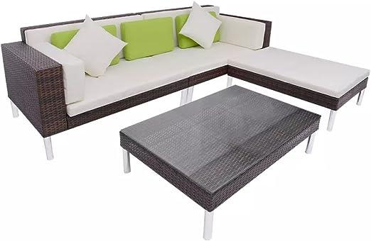 Tuduo Jardín de sofá Cama DE 17 Piezas jardín Conjunto ratán marrón Mobiliario de jardín: Amazon.es: Jardín