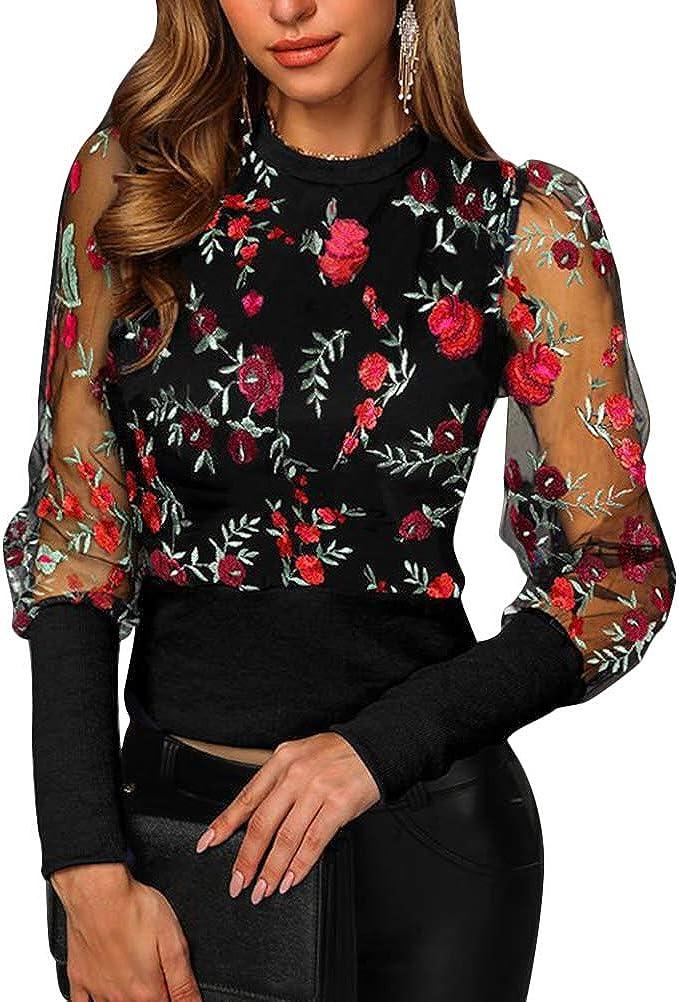 Onsoyours Camicia a Manica Lunga Maglia Ragazza Donna Collo Alto Trasparente Camicetta Floreali Top Primavera Serata Clubwear Sottile Casual